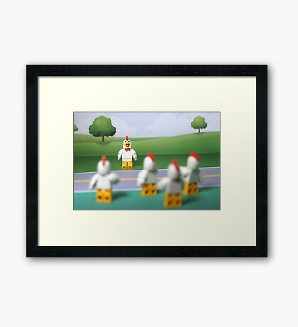 Chicken Suit Guy - Crossing the Road Framed Print