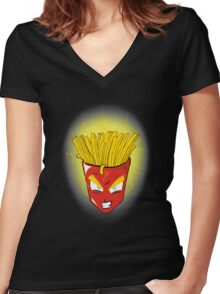 Saiyan s fries Women's Fitted V-Neck T-Shirt