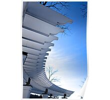 White Pergola against Blue backdrop Poster