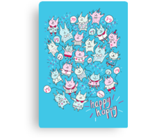 Happy Party Cats Canvas Print