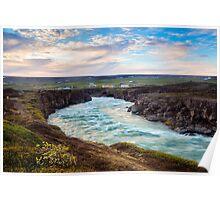 River at Sunrise - Godafoss, Iceland Poster