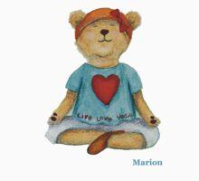Marion live love yoga bear Kids Tee