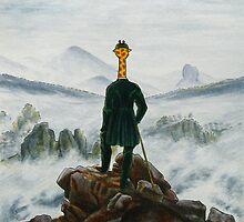 Art Giraffe- Wanderer Above The Sea Of Fog by Sundayink