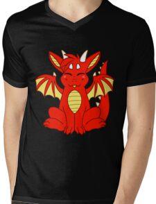 Cute Chibi Red Dragon Mens V-Neck T-Shirt