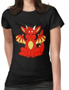 Cute Chibi Red Dragon Womens Fitted T-Shirt