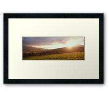 Landscape filled with golden light at sunset Framed Print