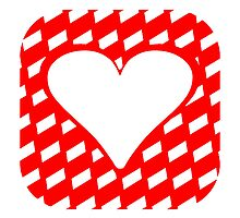 Red Rounded Checkered Stripes Heart Square by kwg2200