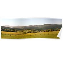 Flowering meadows and rolling hills in springtime Poster