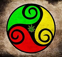 Grunge Reggae Love Vibes - Cool Weed Cannabis Reggae Rasta T-Shirt Prints Stickers by Denis Marsili