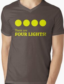 There are FOUR LIGHTS! (Yellow Ink) Mens V-Neck T-Shirt
