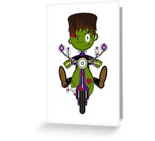 Mini Frankensteins Monster on Scooter Greeting Card