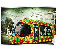 flowered tram Poster