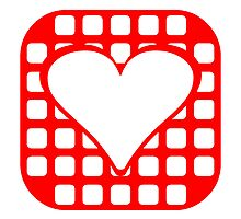 Red Rounded Blocks Heart Square by kwg2200