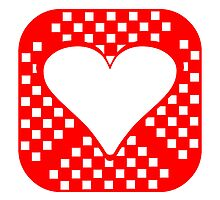 Red Rounded Squares Heart Square by kwg2200