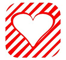 Red Rounded Diagonal Stripes Heart Square by kwg2200