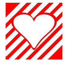 Red Diagonal Stripes Heart Square by kwg2200