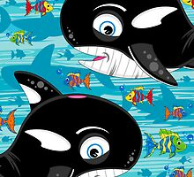 Cute Killer Whale & Fish by MurphyCreative