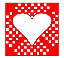 Red Squares Heart Square by kwg2200