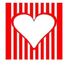 Red Vertical Stripes Heart Square by kwg2200