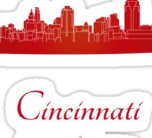 Cincinnati skyline in red Sticker