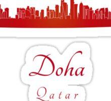 Doha skyline in red Sticker