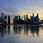 Singapore marina at sunset by Tam Church