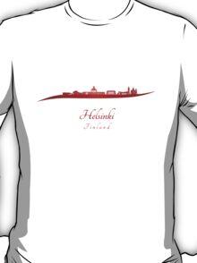 Helsinki skyline in red  T-Shirt