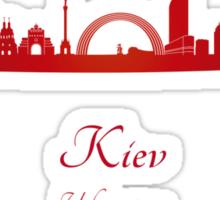 Kiev skyline in red Sticker