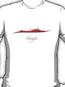 Shanghai skyline in red T-Shirt
