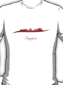 Singapore skyline in red T-Shirt