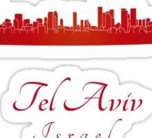 Tel Aviv skyline in red Sticker