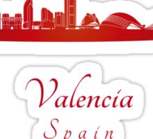 Valencia skyline in red Sticker