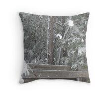 snowy fence Throw Pillow
