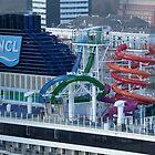 Water slides on board the  Norwegian Getaway  Maiden Trip.   Rotterdam by MaartenMR