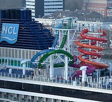 Water slides on board the  Norwegian Getaway  Maiden Trip.   Rotterdam by MaartenMR
