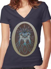 River Otter! Women's Fitted V-Neck T-Shirt