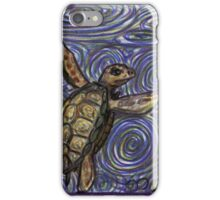 Loggerhead Turtle and Swirls iPhone Case/Skin