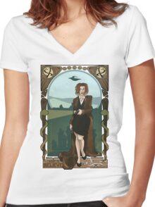 Dana Scully Art Nerdveau Women's Fitted V-Neck T-Shirt