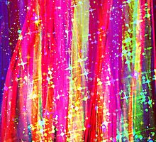 WATERFALLS Abstract Acrylic Pink Purple Ocean Waves Stars Fine Art Painting by EbiEmporium