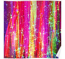 WATERFALLS Abstract Acrylic Pink Purple Ocean Waves Stars Fine Art Painting Poster