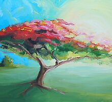 Poinciana Tree Painting by Mark Malinowski