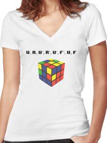 Rubik's Cube Algorithm Women's Fitted V-Neck T-Shirt