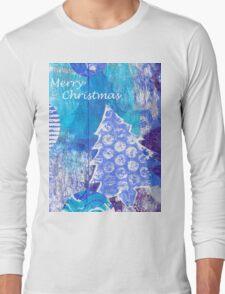 Xmas Card Design 105 in Blue Long Sleeve T-Shirt