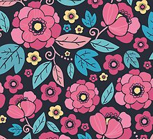 Colorful summer florals pattern by oksancia