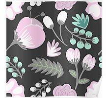 Black Pink Flowers Poster
