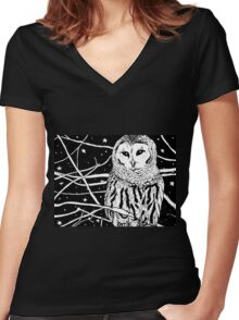 Snowy Night Women's Fitted V-Neck T-Shirt