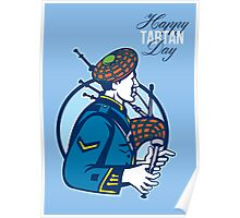 Happy Tartan Day Bagpiper Greeting Card Poster
