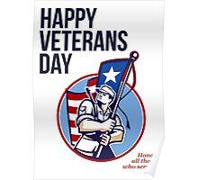 American Veteran Serviceman Greeting Card Poster