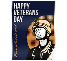 Happy Veterans Day Serviceman Greeting Card Poster