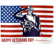 US Veterans Day Remembrance Greeting Card Poster